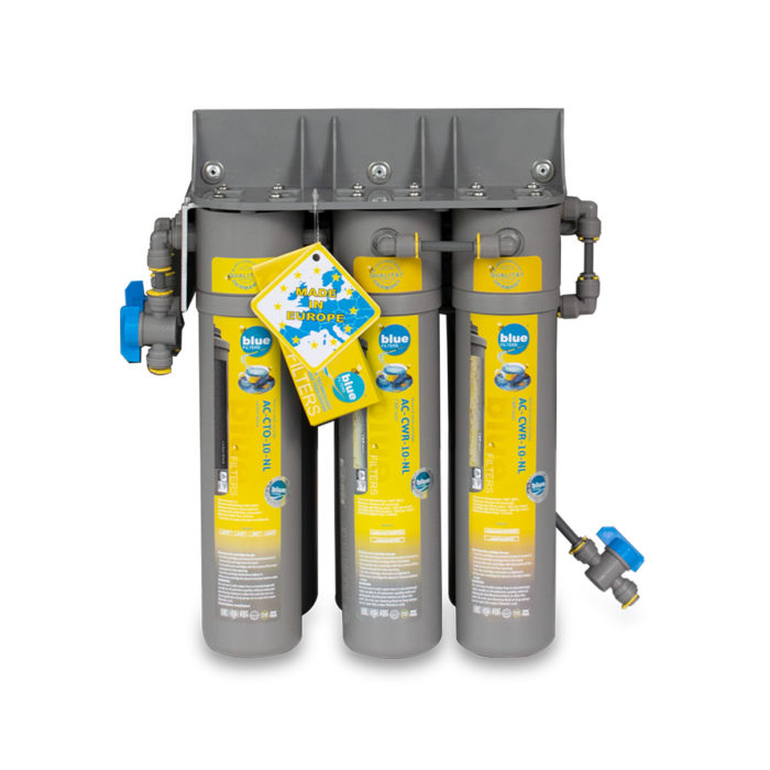 A set of grey cartridges housing water filters.
