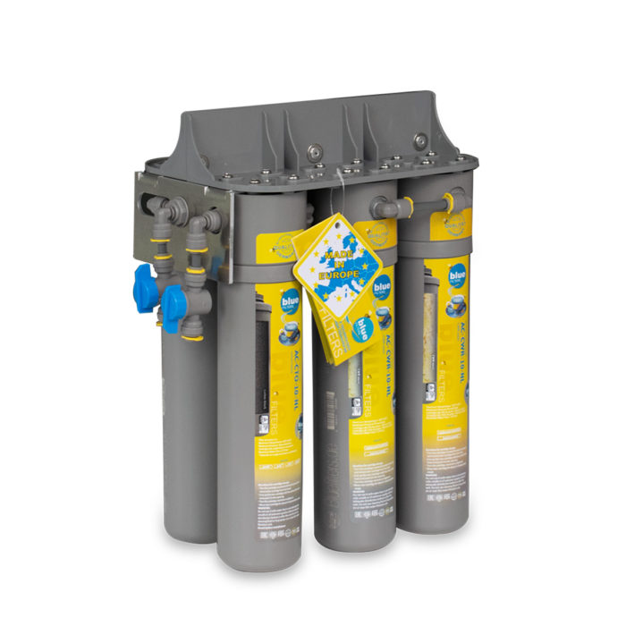Six-cartridge water filtration system.