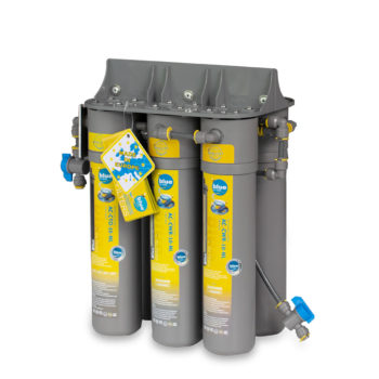 A set of heavy-duty water filters for potable water.