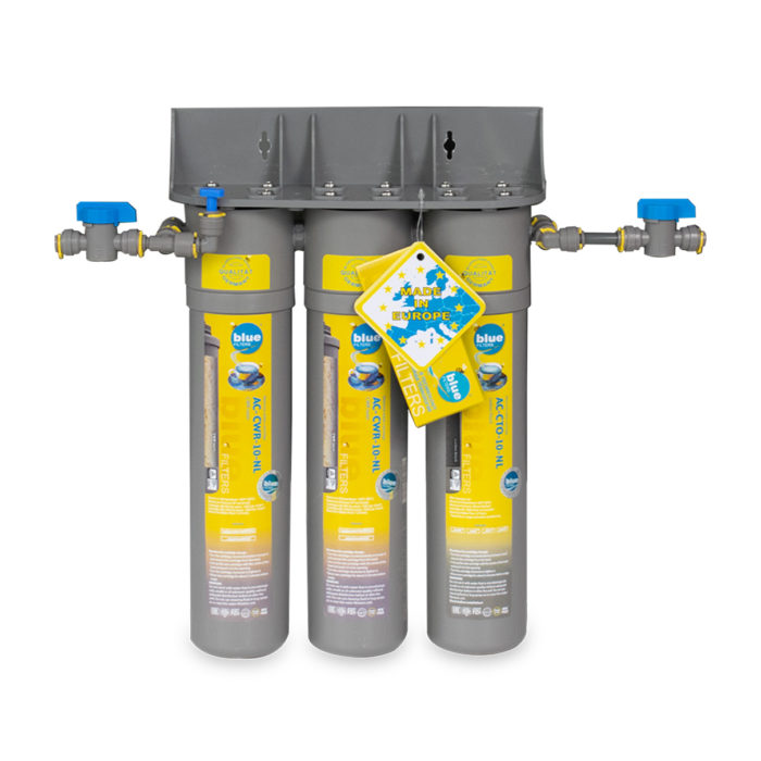 Water filter with three cartridges.