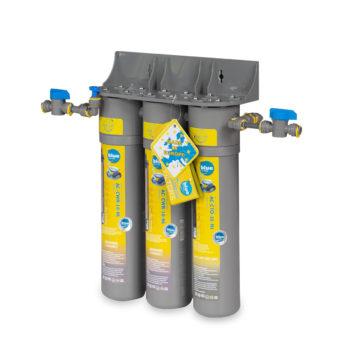 Three-certridge water filter for making drinks.