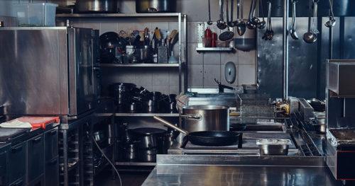 Clean restaurant kitchen interior.
