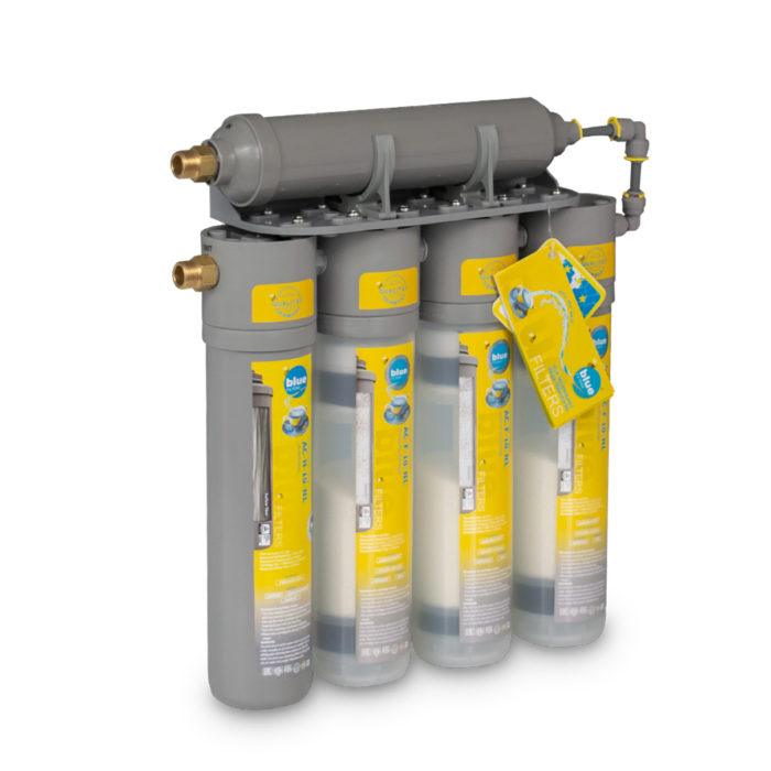 Five filters for treating water.