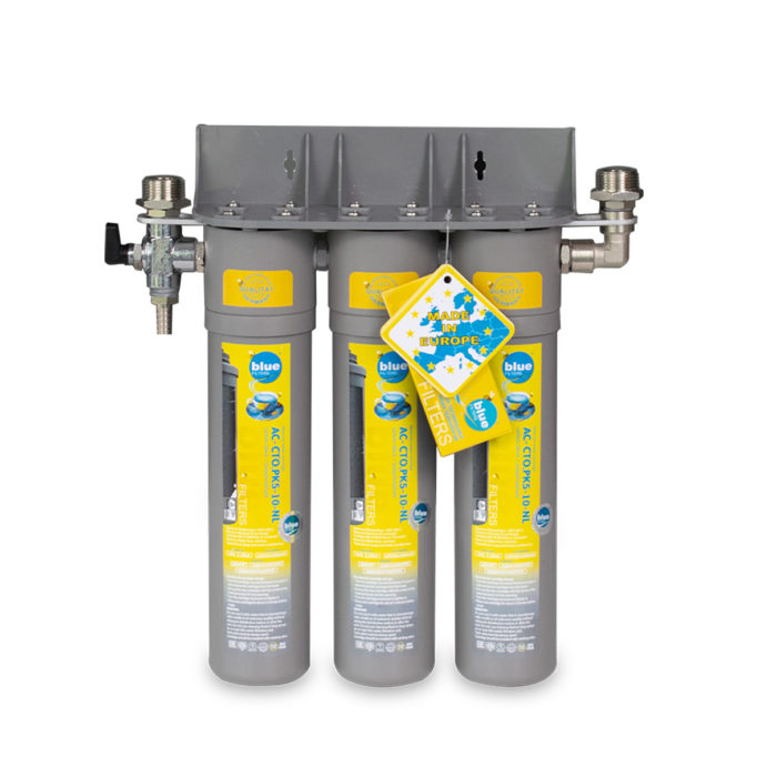 Cartridge water filtering system for making clear ice.