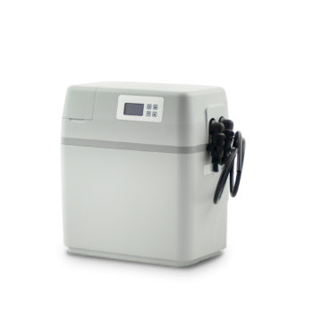 Small, white water softening device.
