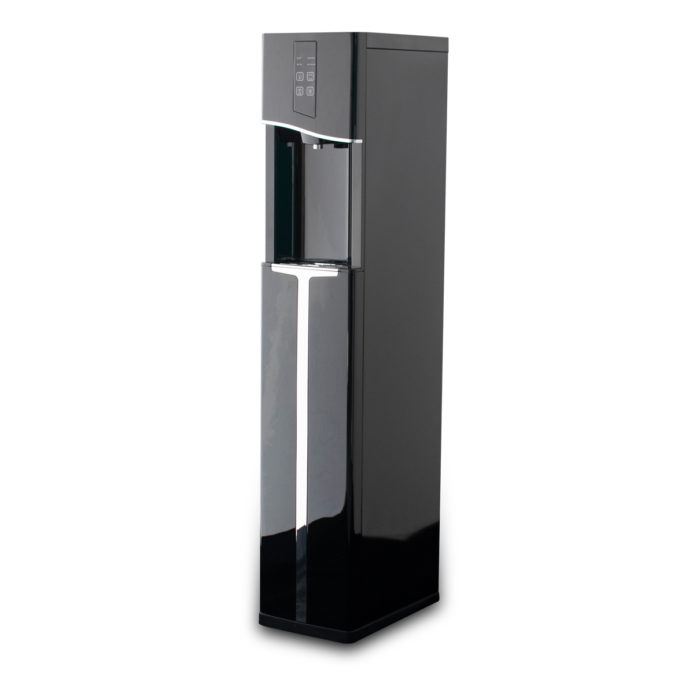 Black, tall water dispenser.
