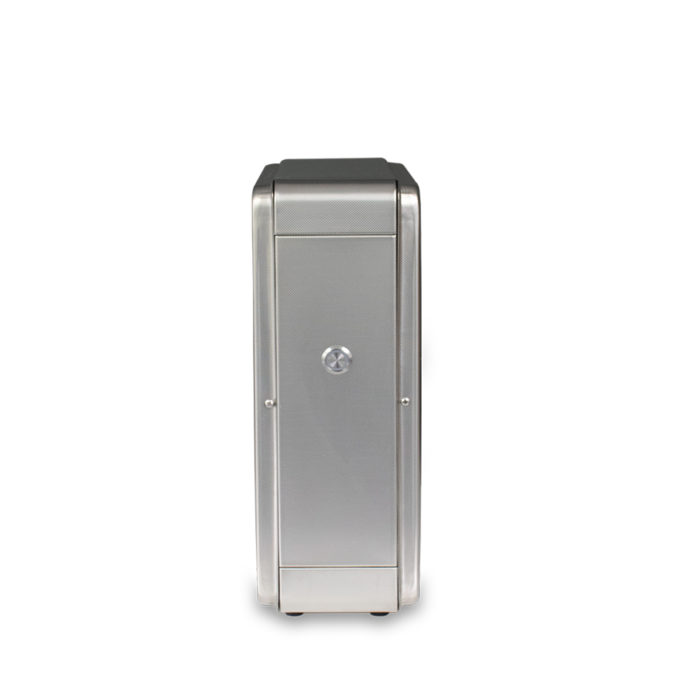 A side of metal case housing a water filter.