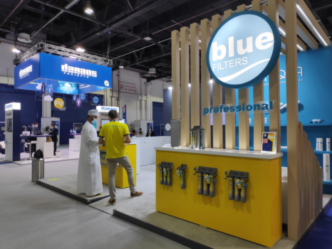 Water filters manufacturer Bluefilters Professional at Big 5 exhibition in Dubai, 2021.