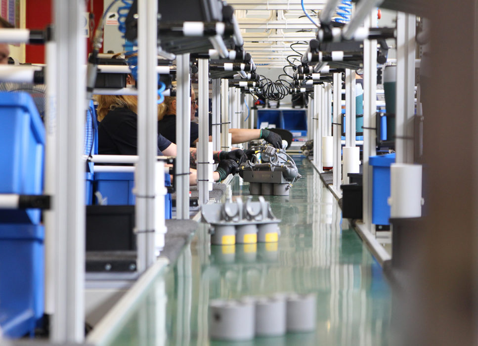 A view on the production line conveyor.